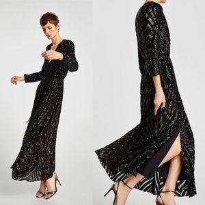 NWT ZARA Sequin Wrap Crossover Maxi Dress Small